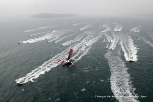 Maxi Trimaran IDEC SPORT, Skipper Francis Joyon and his crew, break the Jules Verne Trophy record, crew circumnavigation, in 40d 23h 30min 30sec, in Brest on January 26, 2017 - Photo Francois Van Malleghem / DPPI  / IDEC Sport